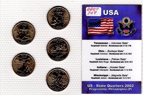 2002 PHILADELPHIA STATE QUARTERS 5 COIN SET
