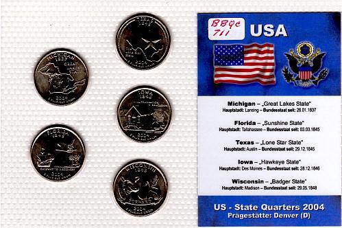 2004 DENVER STATE QUARTERS 5 COIN SET