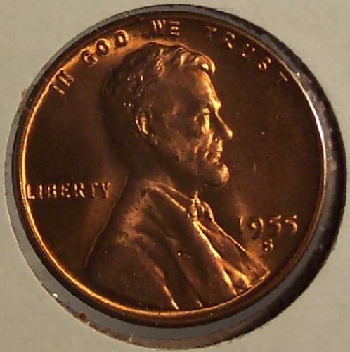 1955-S Lincoln Wheat Penny GEM BU #0028