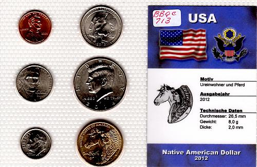 "2012PNATIVE AMERICAN DOLLAR ""TRADE ROUTE"" 6 COIN SET"