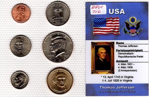 """2007 P PRESIDENTIAL DOLLAR """"THOMAS JEFFERSON"""" 6 COIN SET"""