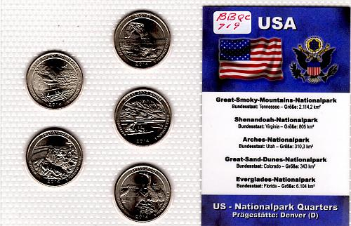 2014 D AMERICA THE BEAUTIFUL QUARTERS 5 COIN SET