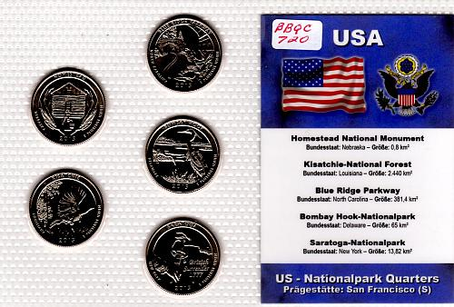 2015 S AMERICA THE BEAUTIFUL QUARTERS  5 COIN SET
