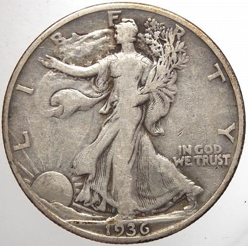 1936 D Walking Liberty Half Dollars #15 FS-1010 DDO Error