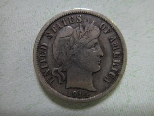 1914-D Barber Dime Very Fine-20 Contrasting Reverse Grey Color: