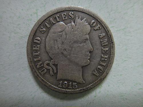 1915 Barber Dime Fine-12 Nice Light Pearl Grey Patina!