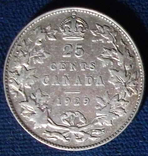 1929 Canada 25 Cents Fine