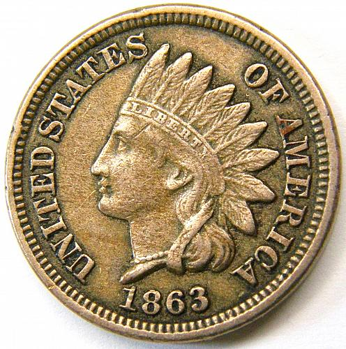 1863 Indian Head Cent #23  BV=$65 Rotated Rev 7˚ CCW