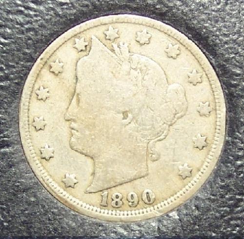 """1890 Liberty """"V"""" Nickel VG8 Partial Liberty #0121"""