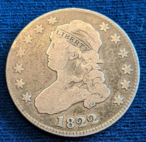 1822 VERY GOOD CAPPED BUST QUARTER.