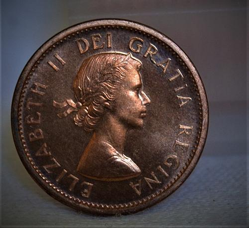 1956 Canada 1 Cent RED Prooflike CAMEO - VERY RARE!!!