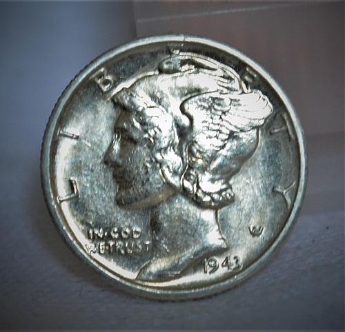 1943 S Mercury Silver Dime - BU