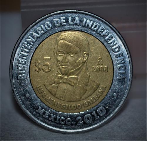 2008 Mexico 5 Pesos - Hermenegildo Galeana BU