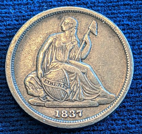 1837 NO STARS LARGE DATE XF SEATED LIBERTY DIME