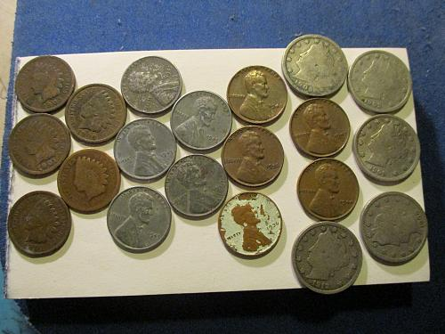 5 Indian Cents  / 5 Steel Cents / 5 Wheat Cents / 5 V Nickels