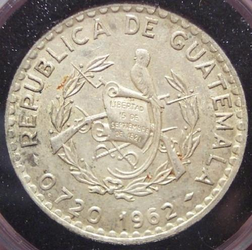 KM#264 1962 Silver 50 Centavos from Guatemala #0188