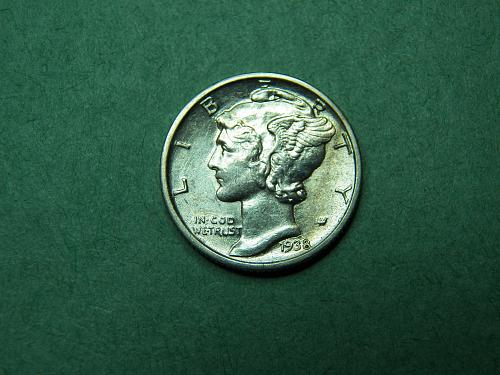 1938 D Mercury Dime Almost Uncirculated Coin  w32
