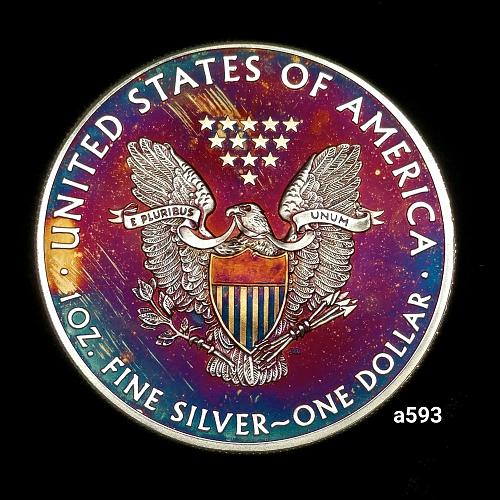 2015 Rainbow Toned Silver American Eagle 1 troy ounce silver Monster toned #a593
