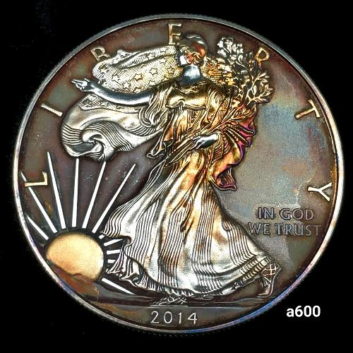 2014 Rainbow Toned Silver American Eagle 1 troy ounce silver Monster toned #a600