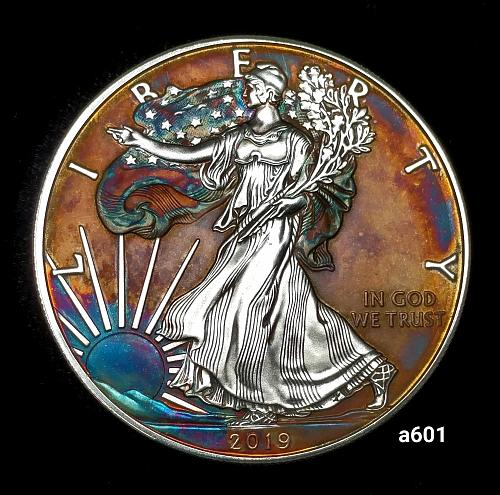 2019 Rainbow Toned Silver American Eagle 1 troy ounce silver Monster toned #a601