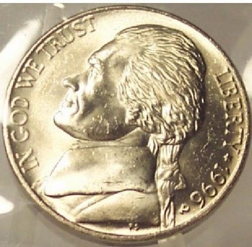 1996-P Jefferson Nickel MS65 FULL STEPS In the Cello #0194