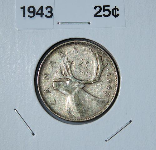 Canada 1943 - Quarter - .800 Silver .200 Copper