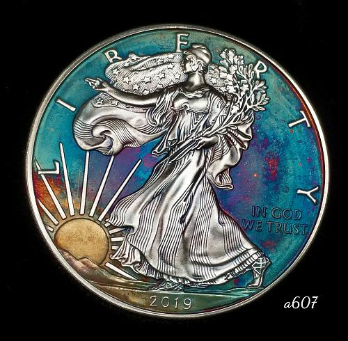 2019 Rainbow Toned Silver American Eagle 1 troy ounce silver Monster toned #a607