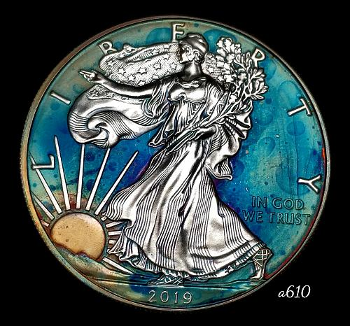 2019 Rainbow Toned Silver American Eagle 1 troy ounce silver Monster toned #a610
