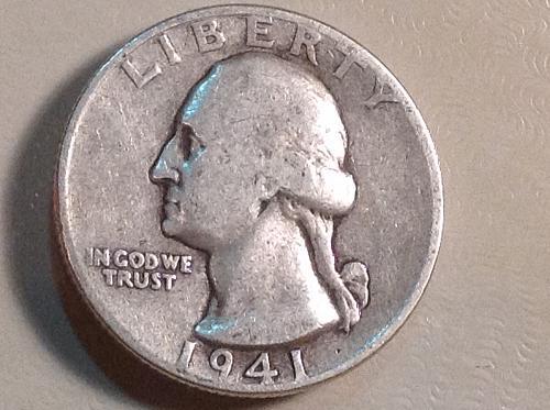 1941 P Washington Silver Quarter