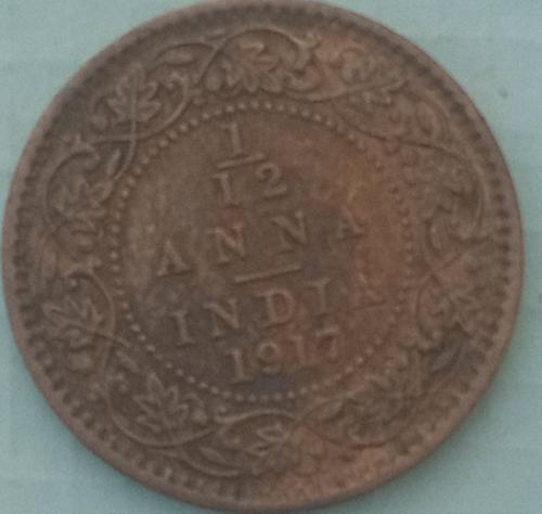 B)...1917...1/12 Anna India Cir. Coin