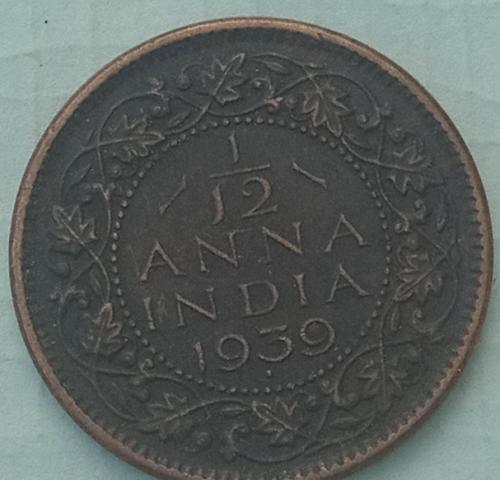 G)...1939...1/12 Anna India Cir. Coin