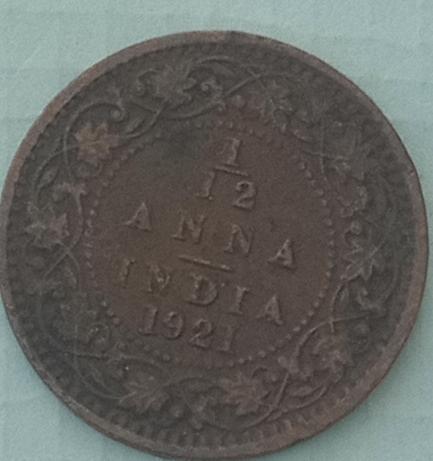 K)...1921....1/12 Anna India Cir. Coin