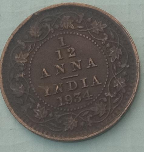 R)...1934...1/12 Anna India Cir. Coin