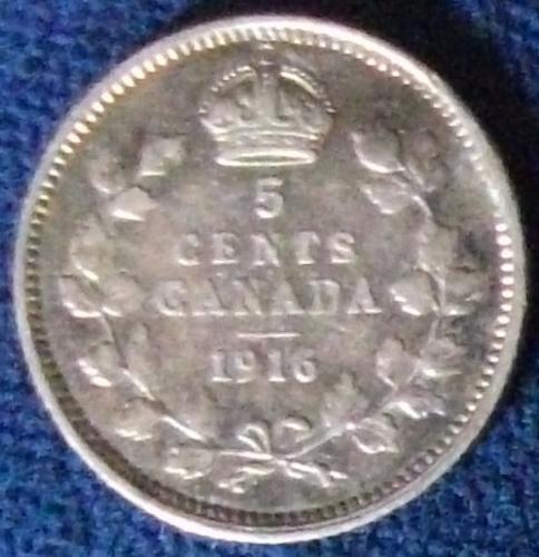 1916 Canada 5 Cents Fine+