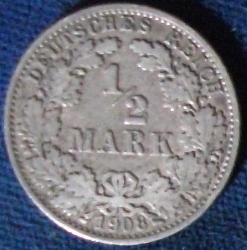1908A Germany/Empire 1/2 Mark VF