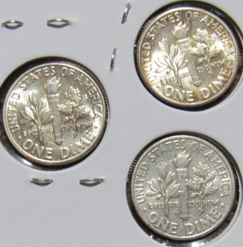 Set of three 1946 D P S Roosevelt Dimes