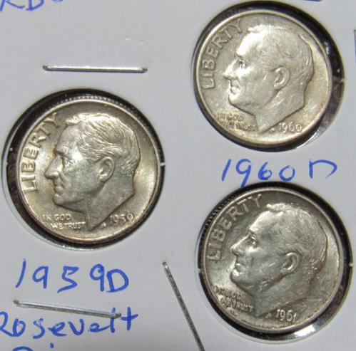 Set of three 1959, 1960, 1961 D Roosevelt Dimes