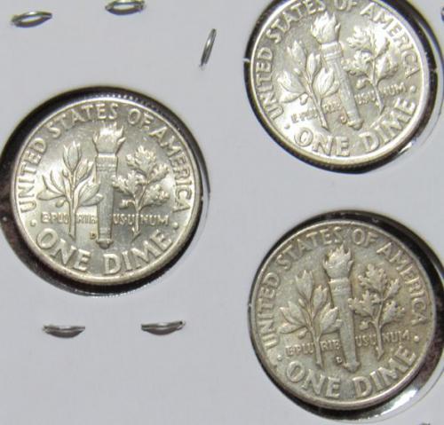 Set of three 1959, 1960, 1961 D Roosevelt Dimes