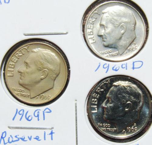 Set of three 1969 D P S Roosevelt Dimes