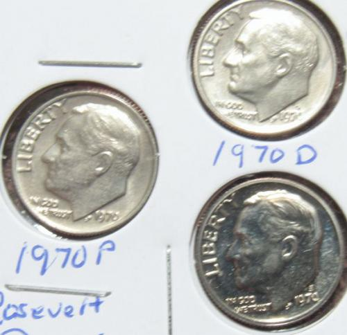 Set of three 1970 D P S Roosevelt Dimes