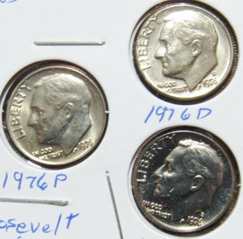 Set of three 1976 D P S Roosevelt Dimes
