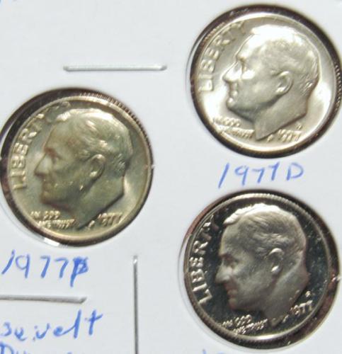 Set of three 1977 D P S Roosevelt Dimes