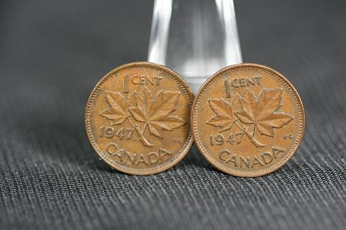 Canada small cent George VI 1947 Maple Leaf &1947 No Maple Leaf Pointed 7