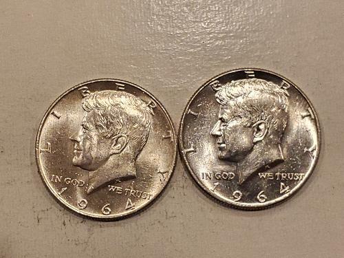 2 1964 JFK Half Dollars