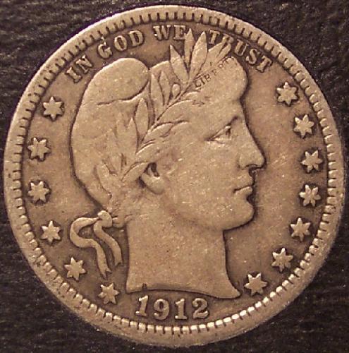 1912 Barber Silver Quarter VF #0255