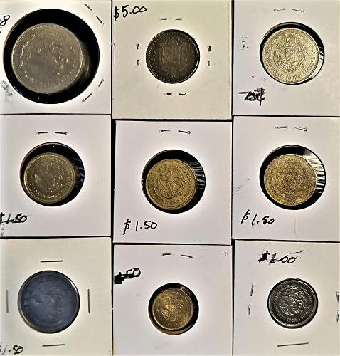 1986 1985 1987 1953 Mexican Peso 9 Coin Collection Exact Coins As Picture