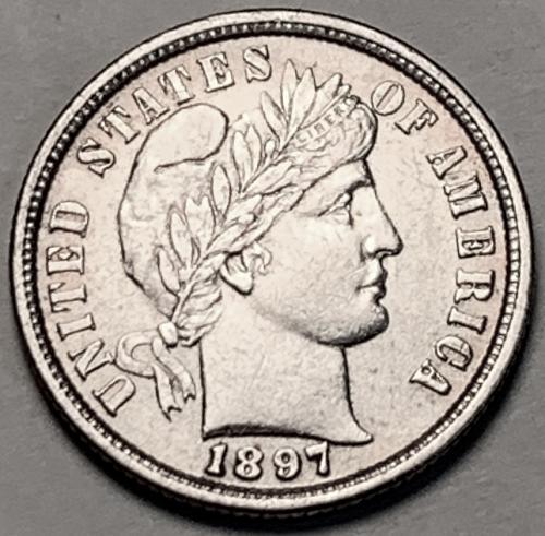 1897 Barber Dime AU55 [BMRD 67]