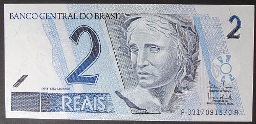 Brazil P249b 2 Reais UNC65