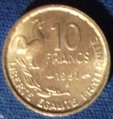 1951B France 10 Francs AU