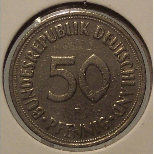 1950-F West German 50 Pfennig #0336